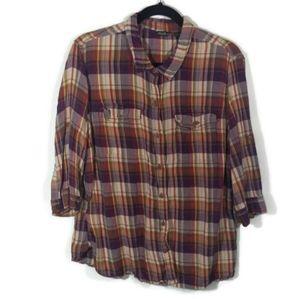 Eddie Bauer half sleeve blouse Plaid #214